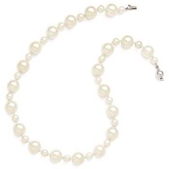 Sterling S Majestik Rh-pl 7&12mm Wht Imitat Shell Pearl Hand Knotted Neckla