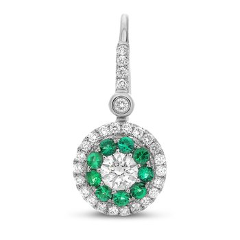 Diamond & Emerald Halo Earrings