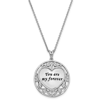 Sterling Silver CZ Antiqued You Are My Forever 18in. Necklace