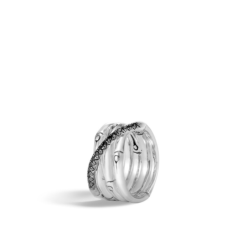 JOHN HARDY Bamboo 14MM Band Ring in Silver with Gemstone