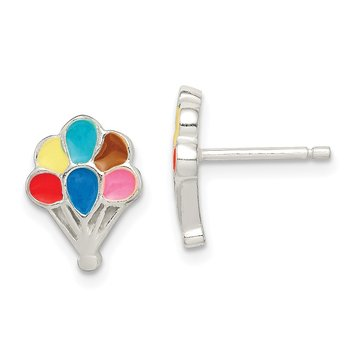 Sterling Silver Polished Enamel Balloon Childs Post Earrings
