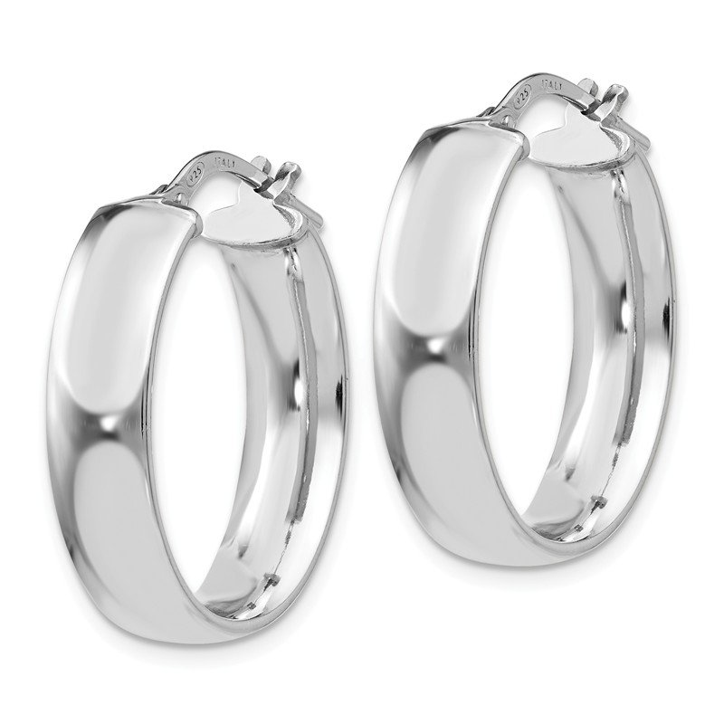 Leslie's Leslie's Sterling Silver Rhodium-plated Oval Hoop Earrings