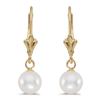 14k Yellow Gold 8-8.5 mm White Freshwater Pearl Leverback Earrings