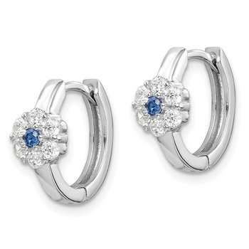 Sterling Silver Rhod-plated Created Spinel/CZ Flower Hoop Earrings