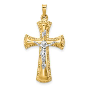 14k Two-tone Hollow Polished Beaded Edge Crucifix