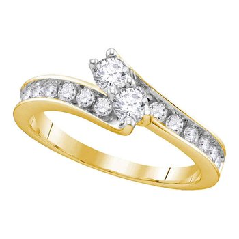 14kt Yellow Gold Womens Round Diamond 2-stone Hearts Together Bridal Wedding Engagement Ring 1.00 Cttw (Certified)