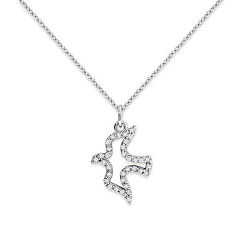 Diamond Bird Necklace in 14k White Gold with 34 Diamonds weighing .15ct tw.