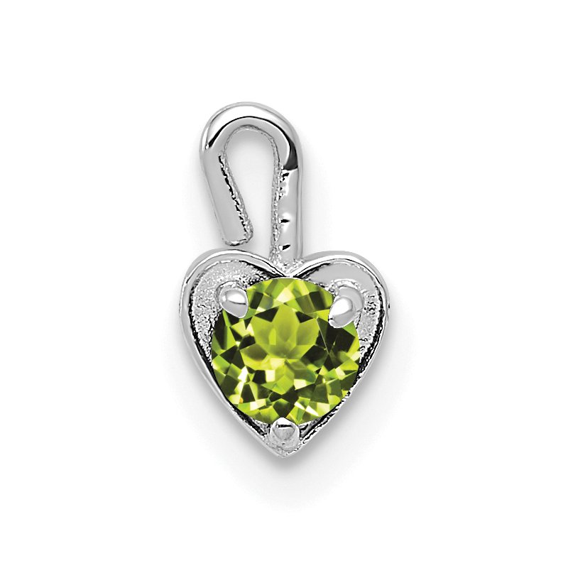 Quality Gold 14k White Gold August Synthetic Birthstone Heart Charm