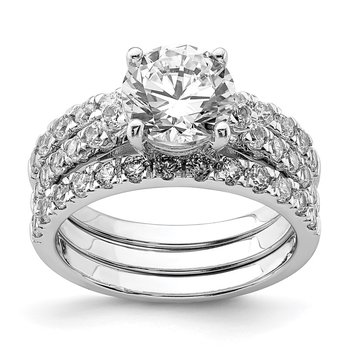 Sterling Silver Rhodium-plated 8mm CZ Ring & 2 CZ Band Set
