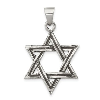 Sterling Silver Antiqued Star of David Pendant