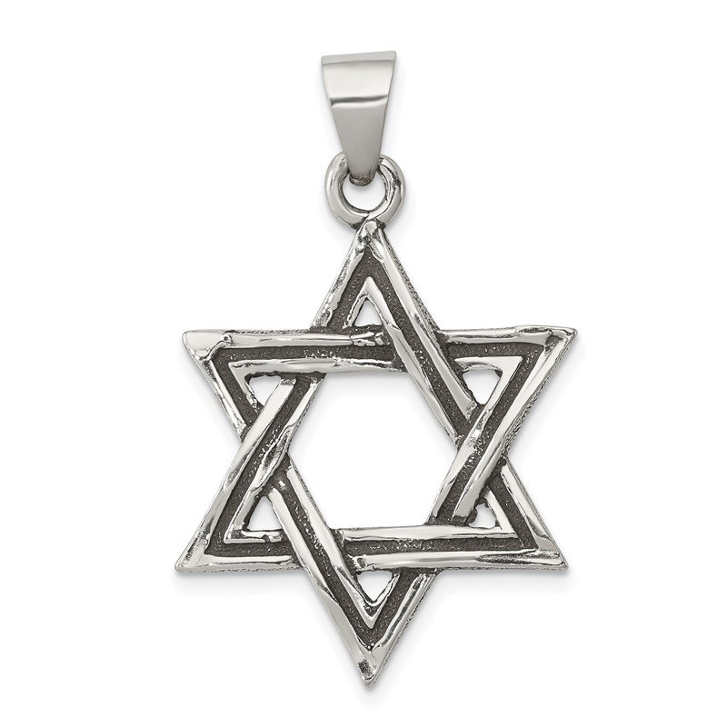 Quality Gold Sterling Silver Antiqued Star of David Pendant