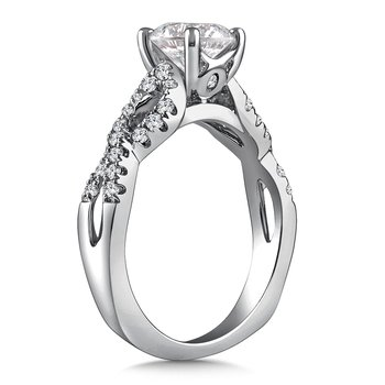 Diamond Engagement Ring Mounting in 14K White Gold with Platinum Head (.37 ct. tw.)