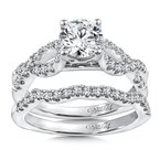 Caro74 Diamond Engagement Ring Mounting in 14K White Gold with Platinum Head (.37 ct. tw.)