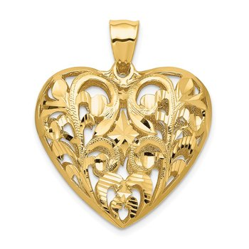 14K Polished Diamond-cut Filigree 3-D Heart Pendant