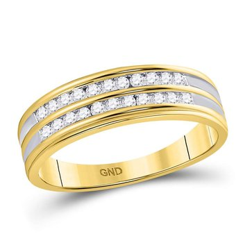 10kt Yellow Gold His & Hers Round Diamond Cluster Matching Bridal Wedding Ring Band Set 1-1/5 Cttw