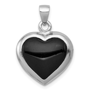 Sterling Silver Onyx & Mother Of Pearl Reversible Heart Pendant