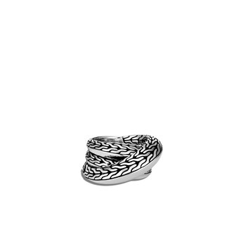 Classic Chain Knife Edge Overlap Ring in Silver