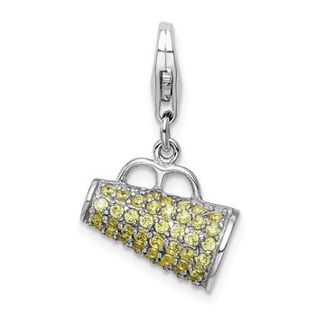 Sterling Silver Polished w/ Yellow CZ 3D Megaphone w/ Lobster Clasp Charm