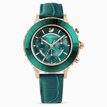 Octea Lux Chrono Watch, Leather Strap, Green, Rose-gold tone PVD