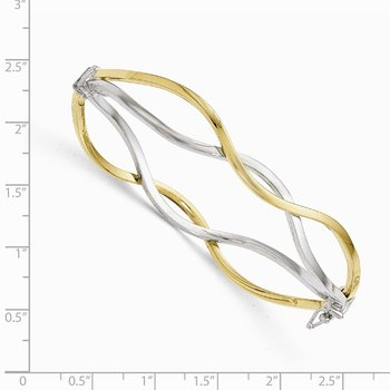 Leslie's 10K White Rhodium Polished Twisted Bangle Bracelet
