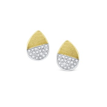Diamond Pear Shape Stud Earrings Set in 14 Kt. Gold