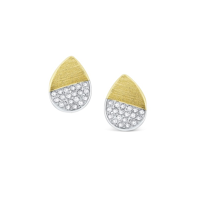 KC Designs Diamond Pear Shape Stud Earrings Set in 14 Kt. Gold