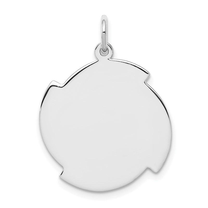 Quality Gold Sterling Silver Rhodium-plated Engraveable Disc Charm