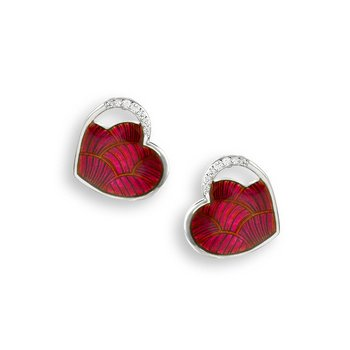 Red Heart Stud Earrings.Sterling Silver-White Sapphires