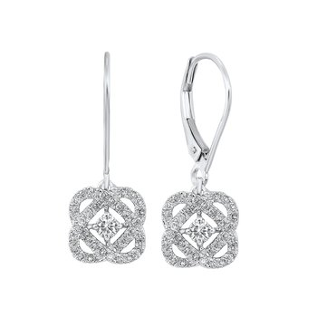 Diamond Infinity Love Heart Knot Dangle Earrings in 14k White Gold (1 ctw)