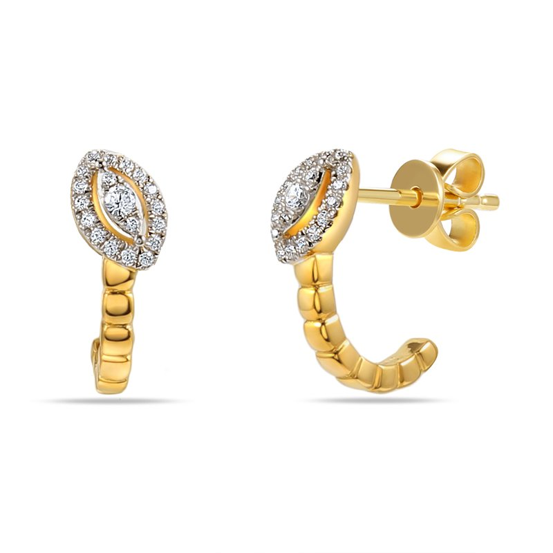 Shula NY 14K Marquise shape drop Earrings 38 Diamonds 0.15C