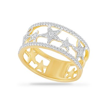 14KY MULTI STARFISH BAND WITH 48 DIAMONDS 0.40CT, 9.5MM WIDE BAND