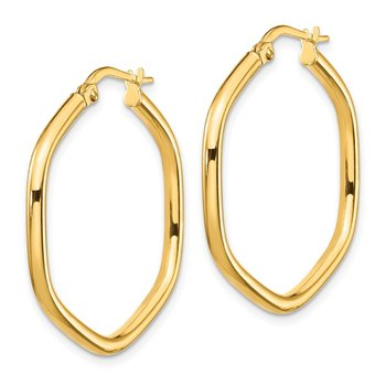 14K 2x2mm Round Tube Hexagon Hoop Earrings