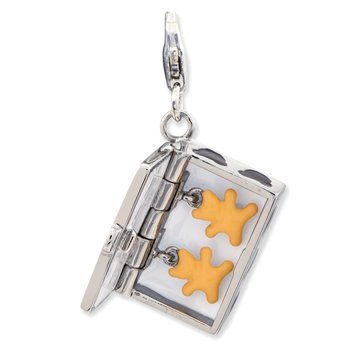 Sterling Silver Enameled 3-D Box of Cookies w/Lobster Clasp Charm (opens)