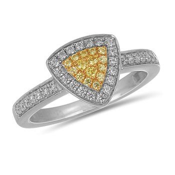 14K WG Yellow Fancy Diamond Rounded Edge Triangular Ring in Prong Setting