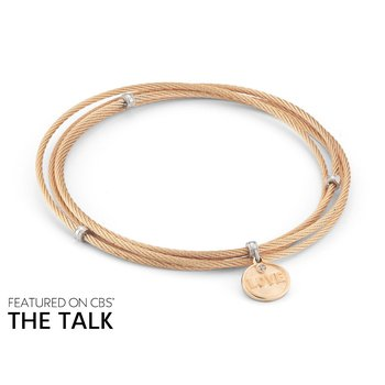 Rose Cable Affirmation Bangle with Diamond Love Charm