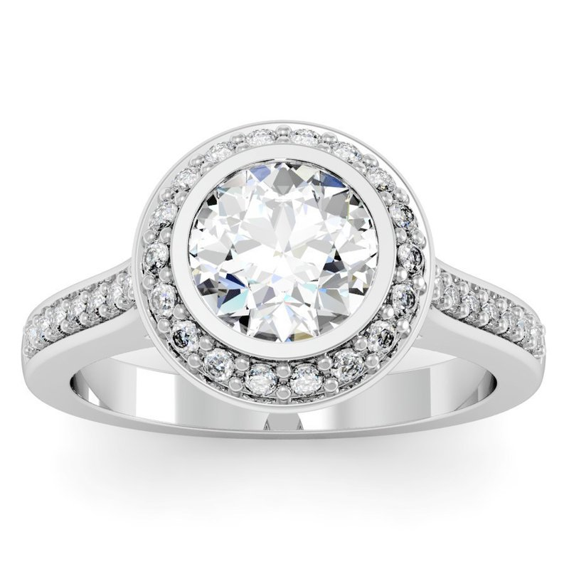 California Coast Designs Round Halo Diamond Engagement Ring