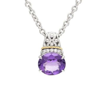 18kt and Sterling Silver Amethyst & Diamond Pendant with Chain