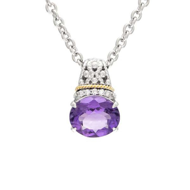 Andrea Candela 18kt and Sterling Silver Amethyst & Diamond Pendant with Chain