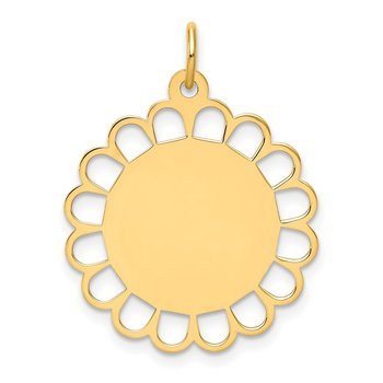14k Plain .011 Gauge Engravable Flower Disc Charm