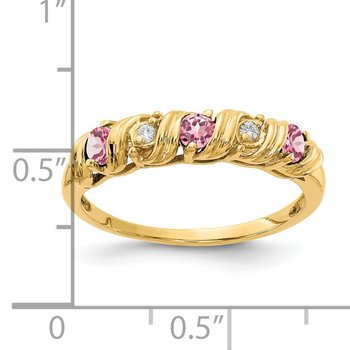 14k 2.75mm Pink Tourmaline A Diamond ring