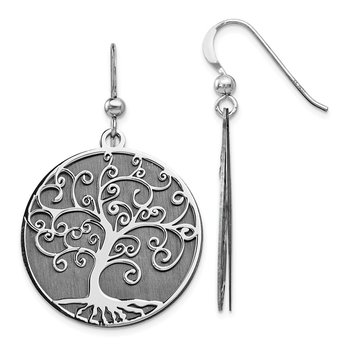 Leslie's Sterling Silver Ruthenium-plated Tree Dangle Earrings