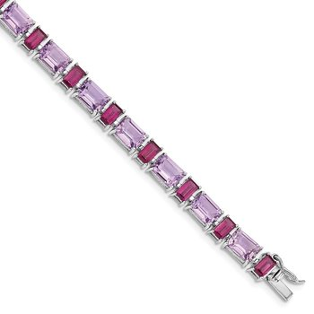 Sterling Silver Rhodium-plated Amethyst and Rhodolite Bracelet
