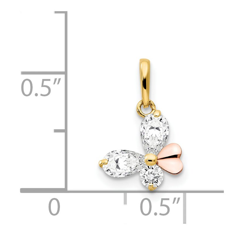 Lester Martin Online Collection 14k Yellow and Rose Gold CZ Children's Butterfly Pendant