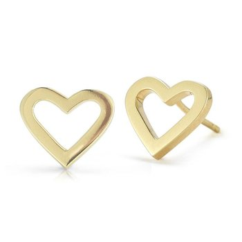 18KT HEART STUD EARRINGS