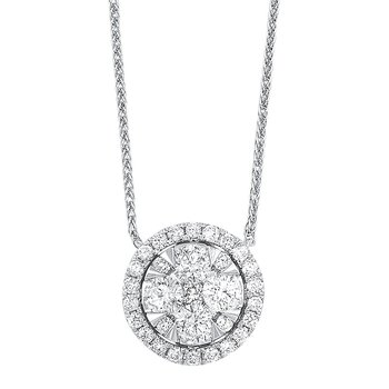 Diamond Starburst Eternity Circle Cluster Pendant Necklace in 14k White Gold (1/3 ctw)