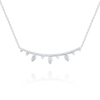 14k Gold and Diamond Laurel Bar Necklace