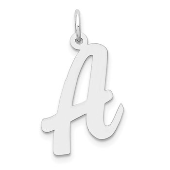 14k White Gold Large Script Letter A Initial Charm