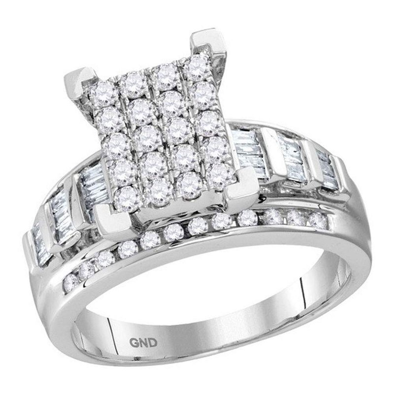 Gold-N-Diamonds, Inc. (Atlanta) 10kt White Gold Womens Round Diamond Cindys Dream Cluster Bridal Wedding Engagement Ring 7/8 Cttw - Size 5
