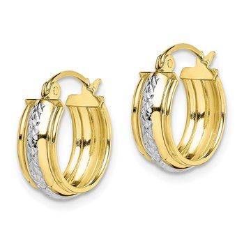 10K & Rhodium Diamond Cut Small Hoop Earrings