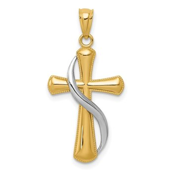14K Two-Tone Polished Cross w/Drape Pendant
